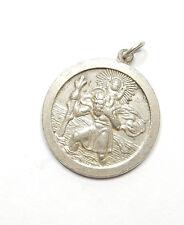 St Christopher Vintage Sterling Silver 925 Travel Luck Pendant 6g