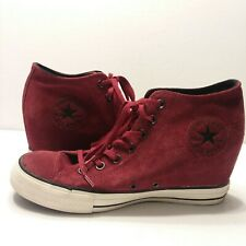 Converse All Star Womens Size 10.5 Suede Red Wedge Heel High Top Shoes GUC