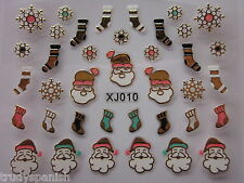 Christmas Nail Art Stickers Decals Gold Snowflakes Stocking Gel Polish (xj10G)