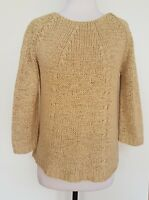 MARCO POLO Coffee Coloured Open Knit 3/4 Sleeve Jumper Size M