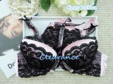 f13664f87df Pink Black Satin Lace Padded Push-Up Bras Set w thong Clearance