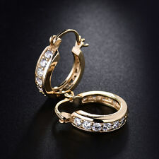 Fashion 18K Yellow Gold Filled Flock Hollow Ring Huggie Diamond Women Earrings