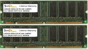 SET OF TWO 128MB PC100 CL3 2RX8 168PIN NON ECC DESKTOP DIMM MEMORY RAM
