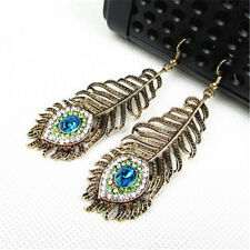 Vintage Women Rhinestone Peacock Eye Feather Dangle Hook Long Earrings Gift