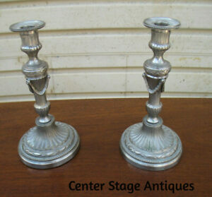 COL WS: Pair Fancy Silver Metal Fancy Candle Sticks