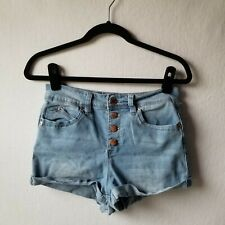 YMI Cut Off Cuffed Shorts Juniors Size 7 Light Wash Button Fly High Rise Jean