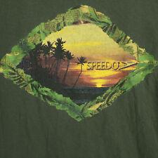 SPEEDO Vtg 90s OLIVE GREEN SURFING Graphic Art T-SHIRT MEN'S ADULT L LARGE