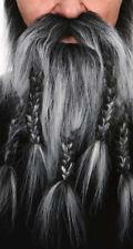 Barbe collier grise avec moustache 5 tresses pour viking Postiche déguisement