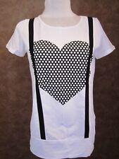 Haut CACHE CACHE T38 -TShirt coton blanc noir gros coeur et bretelles (1803042)