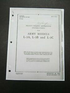 1943 AAF Aeronca L-3 L-3A L-3B L-3C Pilot's Aircraft Flight Operating Manual