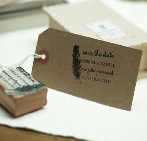 Personalised  Save The Date  wedding stamp / feather design