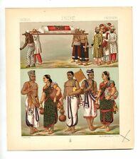Antique Print Litho INDIA HINDU MUSLIMS & BRAHMAN 1888 Le Costume Historique