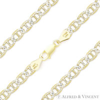5.3mm Marina Mariner Link Sterling Silver & 14k Yellow Gold Italy Chain Bracelet