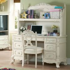Cinderella Girls Writing Desk Hutch & Chair Antique White Carved Wood 3pc Set