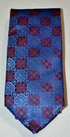 GLADSON Blue Red Purple Gold Green Patterned 100% Silk Neck Tie