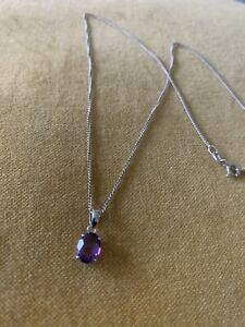 9ct White Gold Amethyst Pendant With Free Silver Chain