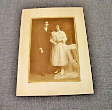 ANTIQUE EARLY 1900 BRIDE & GROOM CABINET PHOTO WITH PASSE PARTOUT