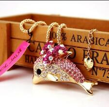 Pendant Hot Betsey Johnson Women Jewelry Dolphin Rhinestone Gold Necklace
