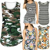 Womens Floral Flower Army Print Vest Ladies Stretchy Sleeveless T Shirt Top