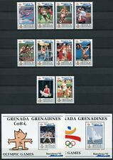 Grenada Grenadinen 1992 Olympiade Barcelona Olympics 1535-44 + Block 237-38 MNH