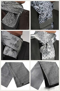 ITALIAN DESIGNER GREY CASHMERE & SILK DOUBLE SIDED SCARF Various Patterns