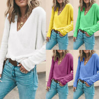 Women's Winter Long Sleeve Casual Loose Sweater Wrap V-Neck Jumpers Tops Blouse