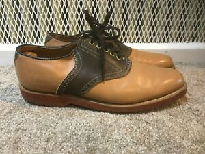 Vintage Dexter Saddle Shoes Two Tone Brown Leather Red Soles 10.5 Made USA