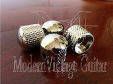 4  Modern Vintage Guitar Machined Metal  Dome Top Knurled Tone Knobs Nickel