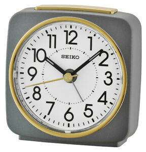 Seiko Alarm Clock With Quiet Output Grey/Gold QHE140N