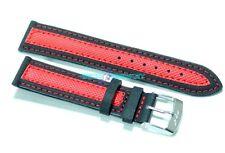 Cinturino olorogio in tessuto cordura imbottito 18mm nero rosso tipo sector s18r
