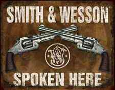 "TIN SIGN- ""Smith & Wesson Spoken Here"" Western & Hunting Metal Wall Art"