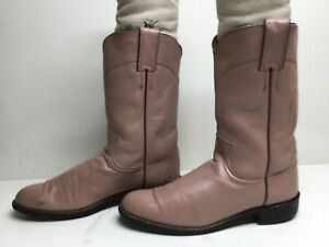 VTG WOMENS JUSTIN WESTERN ROPER LIGHT PINK BOOTS SIZE 7.5 AA