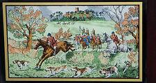 """NIB 1979 FRANKLIN MINT Old Berkshire Hunt CLOCK HORSE HOUND FOX 20.5"""" x 12.5"""""""