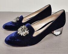 Deimille Della Pia Crystal Embellished Pump Royal Blue Velvet Womens Size 10 /40