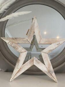 Large Antique White Wooden Sparkle Star - 50cm