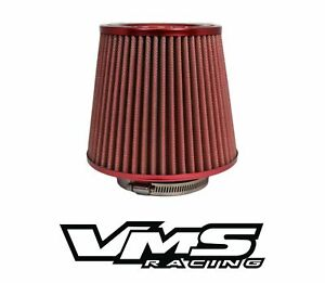 VMS RACING RED 3 INCH INTAKE HIGH FLOW AIR FILTER FOR MITSUBISHI ECLIPSE MIRAGE