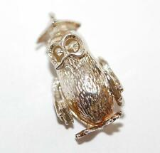 Vintage Wise Owl Sterling Silver Bracelet Charm / Moving Eyes (2g)