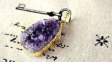 Druzy Púrpura joyas oro encanto colgante suministra C134