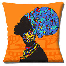 "African Tribal Lady 16""x16"" 40cm Cushion Cover Silhouette Orange Blue Ethnic"