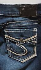 Women's Silver Suki Mid Slim Boot Straight Cut Fluid Denim Jeans Size W29/L33