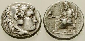025. Greek Silver Coin. ALEXANDER III. AR Drachm. Herakles / Zeus. VF