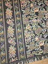 Vintage BLACK Throw Tapestry FLORAL Afghan WALL HANGING /  BLANKET