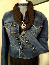 SILVER JEANS Jacket Small button up Dark wash denim Mandarin collar coat Sexy!