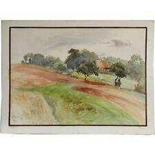 ORIGINALE FIRMATO ARATO Paesaggio dipinto ad Acquerello terreni agricoli Albert Cooper