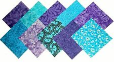 "50 4"" Quilting Fabric Squares Twilight/Shades of Purple and Blue/BUY IT NOW!!!"