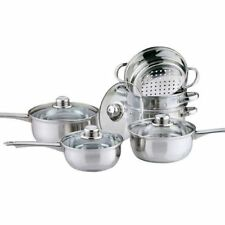 6 PCS Cookware Steamer Set Stainless Steel Saucepan Pot Kitchen For Induction