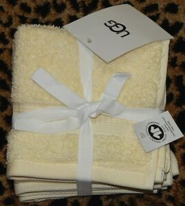 """UGG SET OF 4 Wash Towels YELLOW 100% Organic Cotton 13""""x13"""" NEW AUTHENTIC"""
