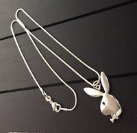 "18"" Silver Plated Necklace w/ Playboy Bunny Pendant/USA SHIPPER Free Shipping!"