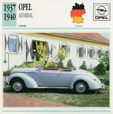 1937-1940 OPEL ADMIRAL Classic Car Photograph / Information Maxi Card
