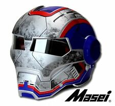 Masei 610 RED BLUE IronMan Motorcycle Bike Chopper Helmet iron WAR MACHINE US